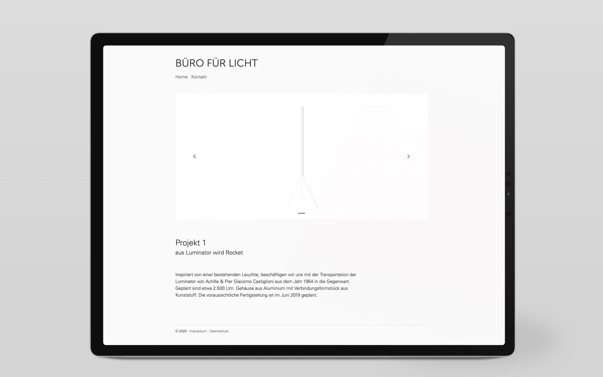 Responsiver Internetauftritt mit Content-Management-System für das Büro für Licht von der Designagentur das formt aus München