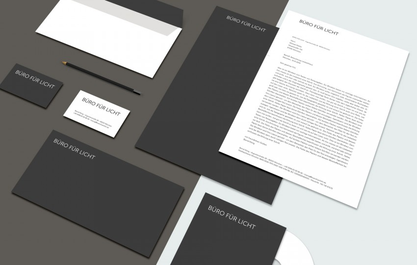 Corporate Design mit Geschäftsausstattung für das Büro für Licht von der Designagentur das formt aus München