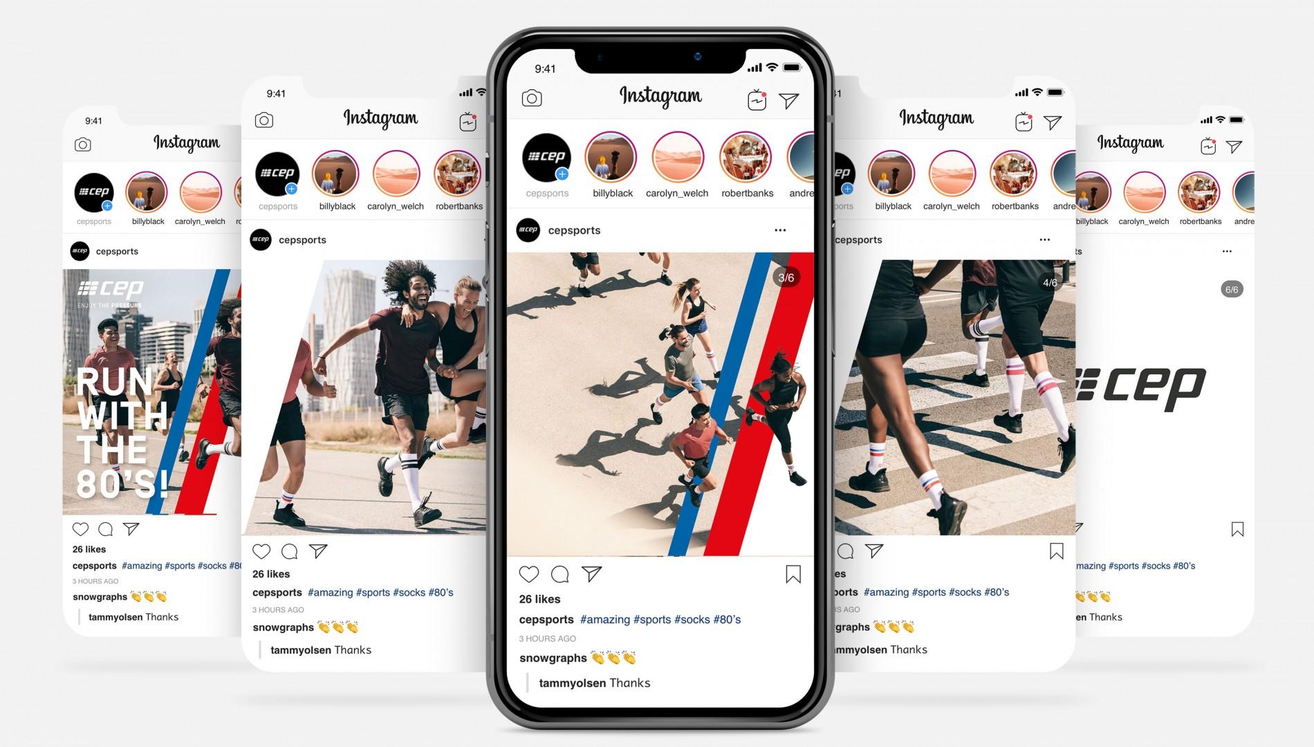 Social Media Kampagne und Branddesign für cep sports von der Designagentur das formt aus München