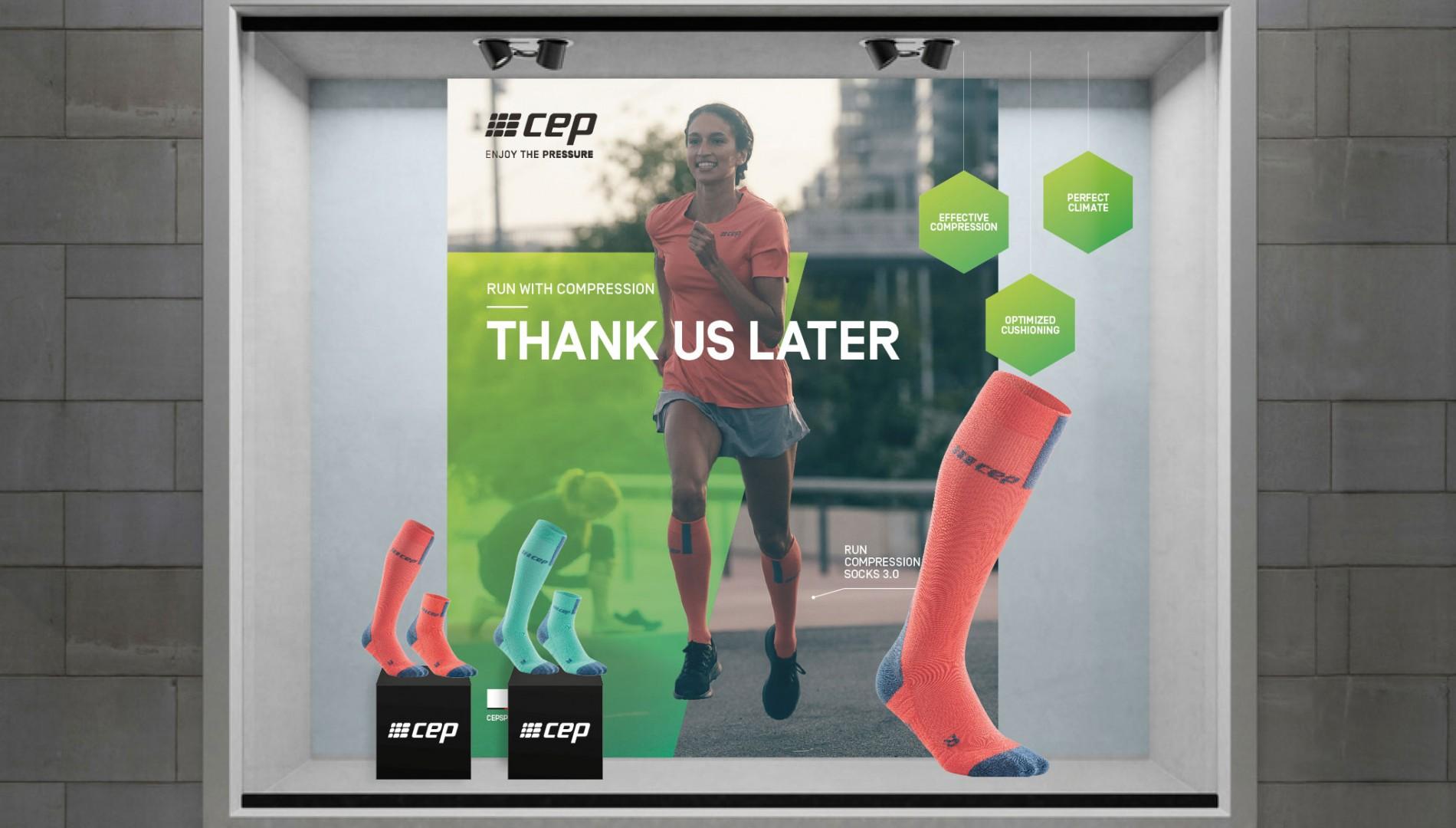 Retaildesign, Plakatdesign und Schaufenstergestaltung für cep sports von der Designagentur das formt aus München