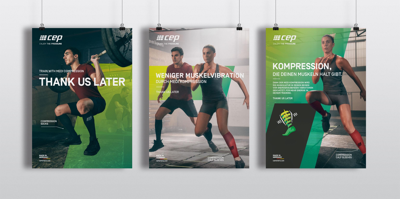 Plakatkampagne und Branddesign für cep sports von der Designagentur das formt aus München