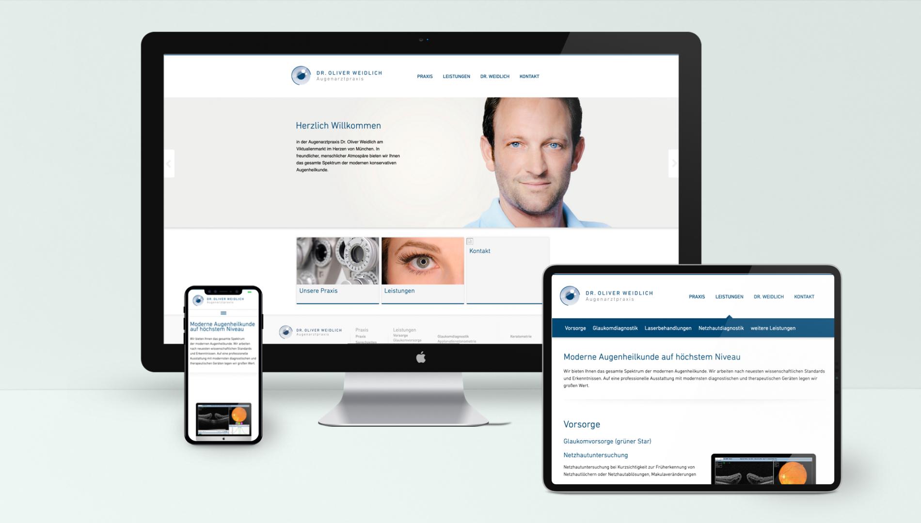 Responsive Internetauftritt mit TYPO3 Content-Management-System  für die Augenarztpraxis Dr. Oliver Weidlich von der Designagentur das formt aus München