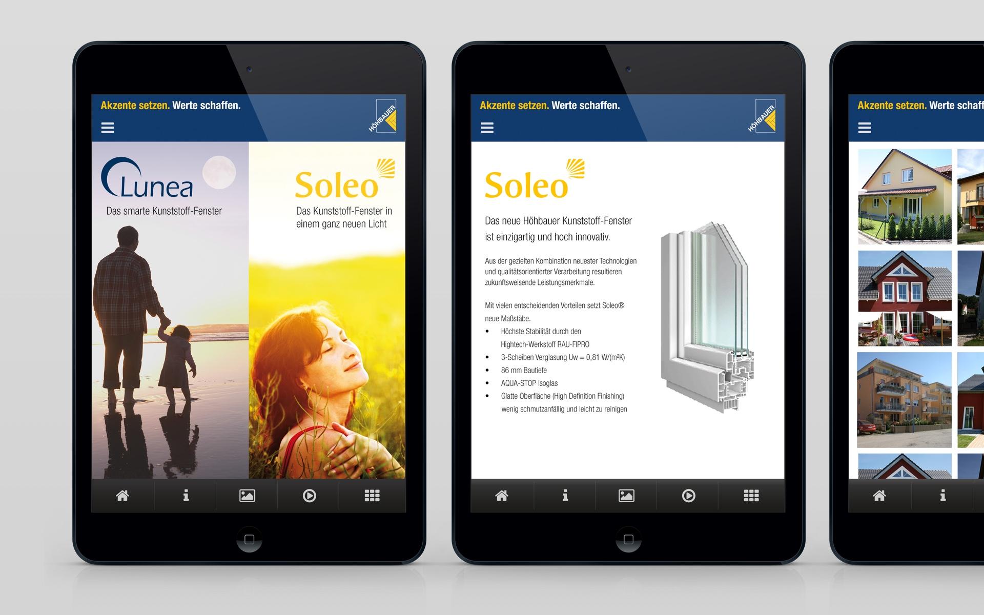 Mobile Applikation und interaktive Produktpräsentation für die Höhbauer GmbH von der Designagentur das formt aus München