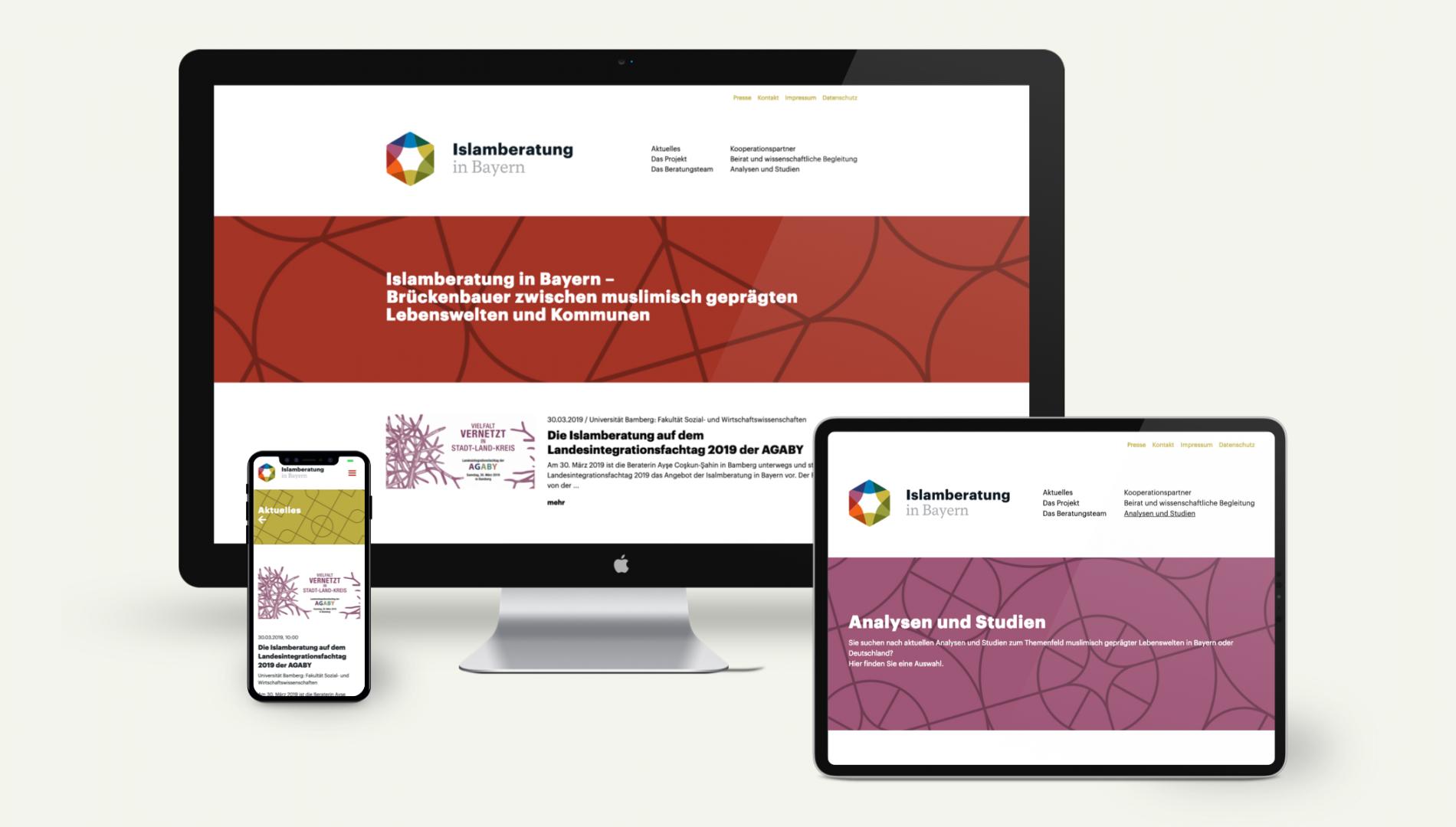 Responsiver Internetauftritt mit Webdesign und Content-Management System für die Islamberatung in Bayern von der Designagentur das formt aus München