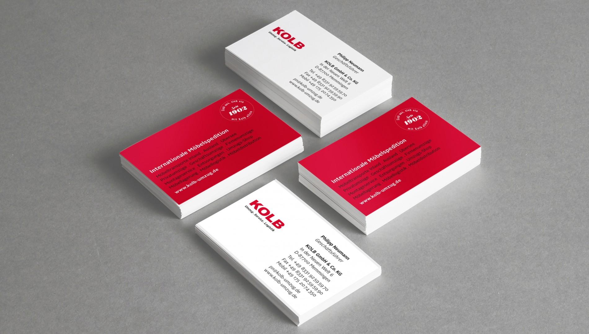 Corporate Design und Geschäftsausstattung für KOLB Umzug . Service . Logistik aus Memmingen von der Designagentur das formt aus München