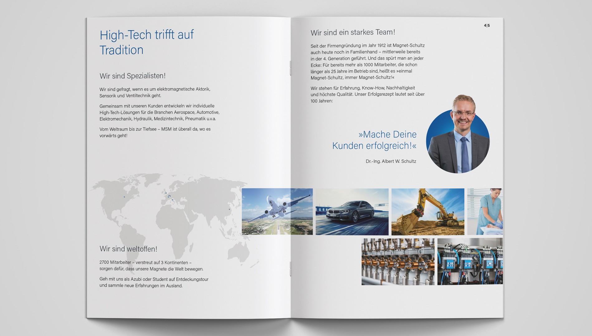 Moderne Ausbildungsbroschüre für Magnet-Schultz GmbH & Co. KG in Memmingen von der Designagentur das formt aus München