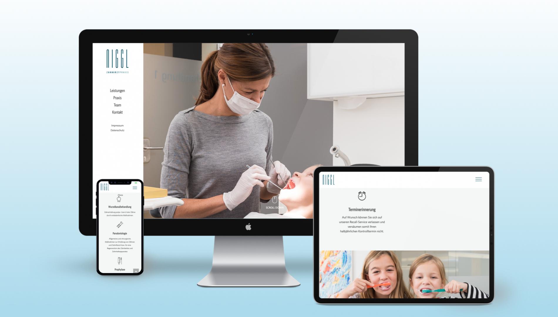 Moderner Interntauftritt mit neuem Corporate Design für Zahnarztpraxis aus Memmingen von der Designagentur das formt aus München