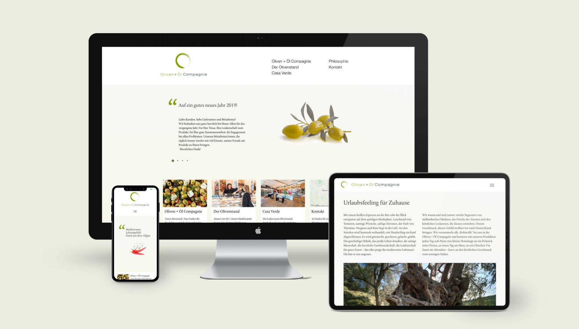 Responsiver Internetauftritt mit TYPO3 CMS und Coporate Design für die Oliven + Öl Compagnie aus Memmingen von der Designagentur das formt aus München