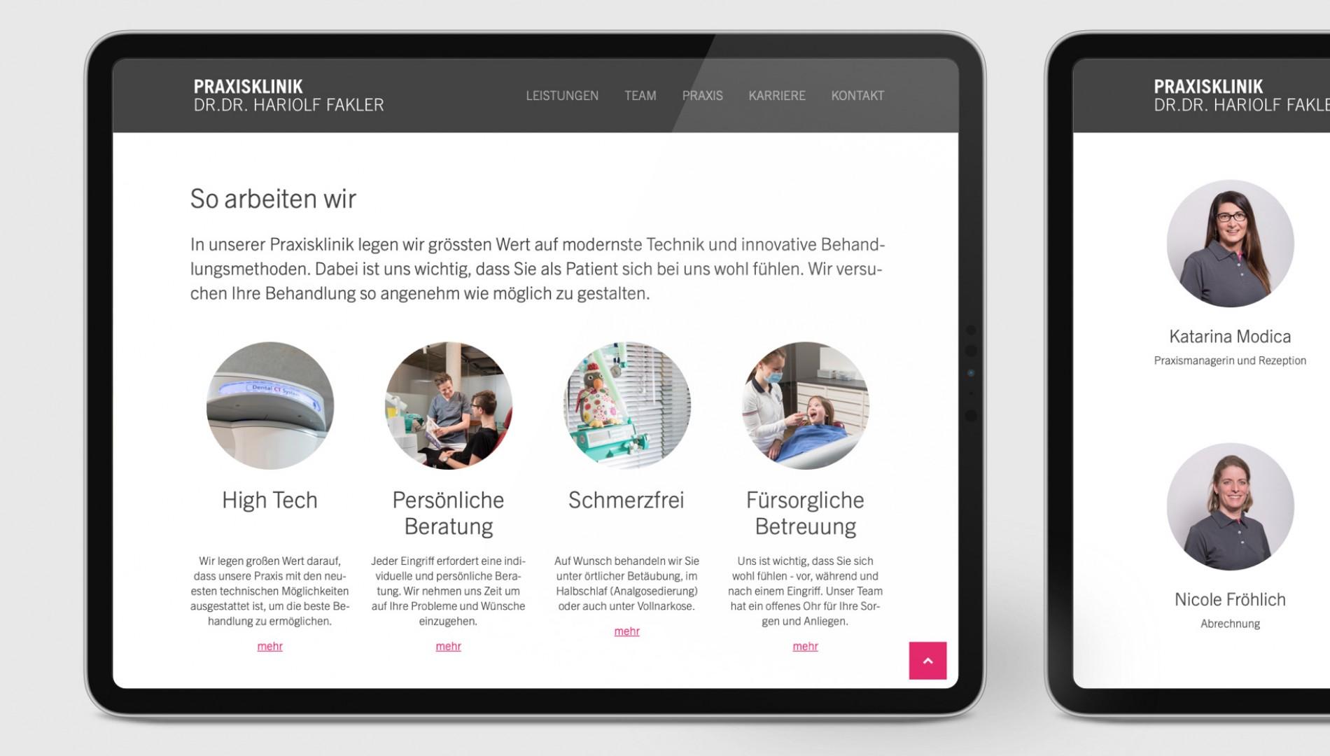 Responsiver Internetauftritt mit Kirby Content-Management-System  für die Praxisklinik Dr. Dr. Fakler aus Memmingen von der Designagentur das formt aus München